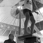 American Circus-Theatre / The owner of the circus, Claro Olguin (L), checks his son training, at Colonia Itapebí, Salto, northwest Uruguay, on August 29, 1996.